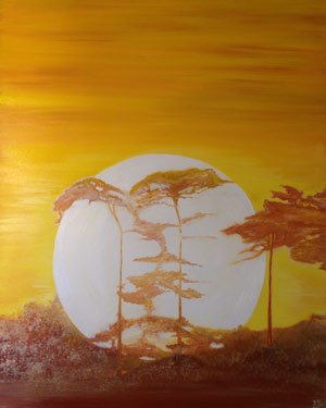 Oil on canvas dimensions 18x24 inches view of setting sun bridgeing across the tree tops