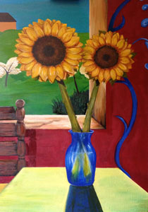 Oil on canvas dimensions 24x36 inches, Santa Cruz Sunflowers at the table by the window.