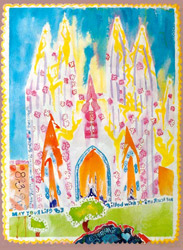 Water color on rag paper dimensions 22x28 inches May you always have stars to reach for with illuminated sillouettes painted on the Cathedral in Barcelona Spain